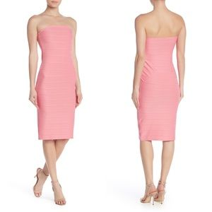 Womens Bandage Dress Bubblegum Pink Strapless Midi